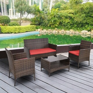 Costway 4 PCS Outdoor Patio Rattan Furniture Set Table Shelf Sofa W/ Red Cushions - as pic