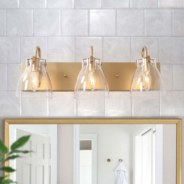 """Glam 4-lights Bathroom Vanity Lights Golden Wall Sconce for Powder Room - L22""""x H8""""x E7"""". Opens flyout."""