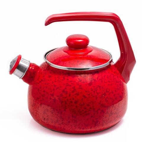 MET-ROT 2.7 -Qt Ruby Red Enamel on Steel Whistle Tea Kettle