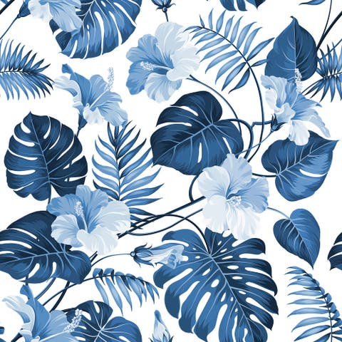 Blue Palm Tree Branch Removable Wallpaper - 24'' inch x 10'ft