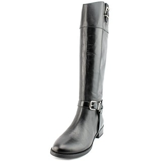INC International Concepts Fedee Women Round Toe Leather Black Knee High Boot