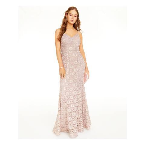 BCX Pink Spaghetti Strap Full-Length Dress 0