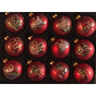 Kurt Adler 65mm 12 Days of Christmas Decorative Glass Balls (12-piece Set)