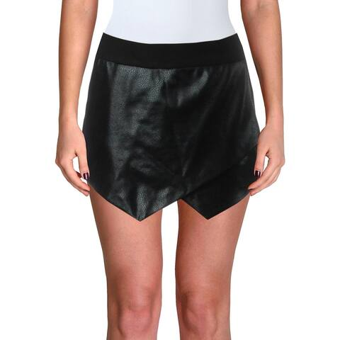 Necessary Objects Womens Mini Skirt Faux Leather Snake Print - Black - S