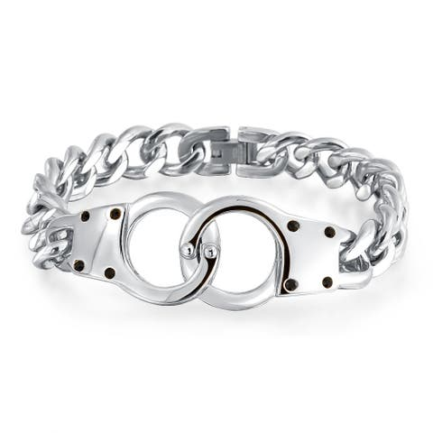 Handcuff Bracelet Partners in Crime Curb Link Chain Stainless Steel For Women For Men 8.5 Inch