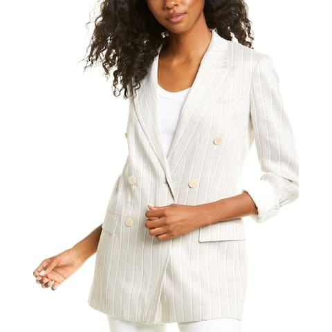 Theory Double-Breasted Tailor Linen-Blend Blazer