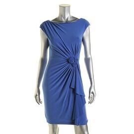 Jones New York Womens Petites Ruched Cascade Ruffle Cocktail Dress - 4P