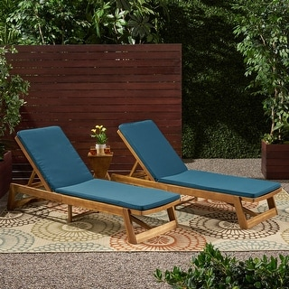 Nadine Outdoor Fabric Chaise Lounge Cushion (Set of 2) by Christopher Knight Home