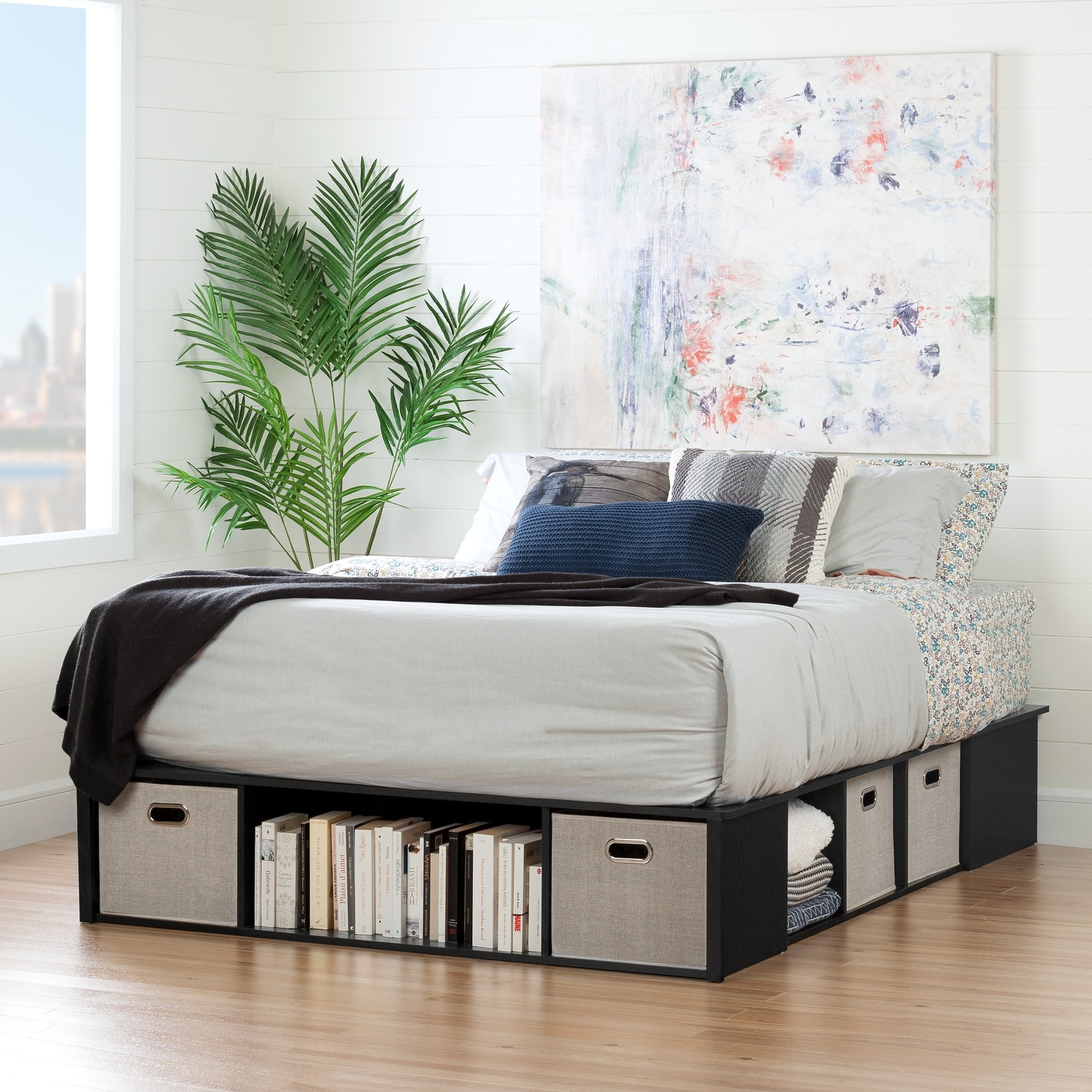 Picture of: Flexible Contemporary Queen Size Storage Bed With 4 Baskets Overstock 13260557