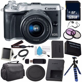 Canon EOS M6 Mirrorless Digital Camera with 15-45mm Lens (Silver) 1725C011 (International Model) + 128GB SDXC Memory Card Bundle