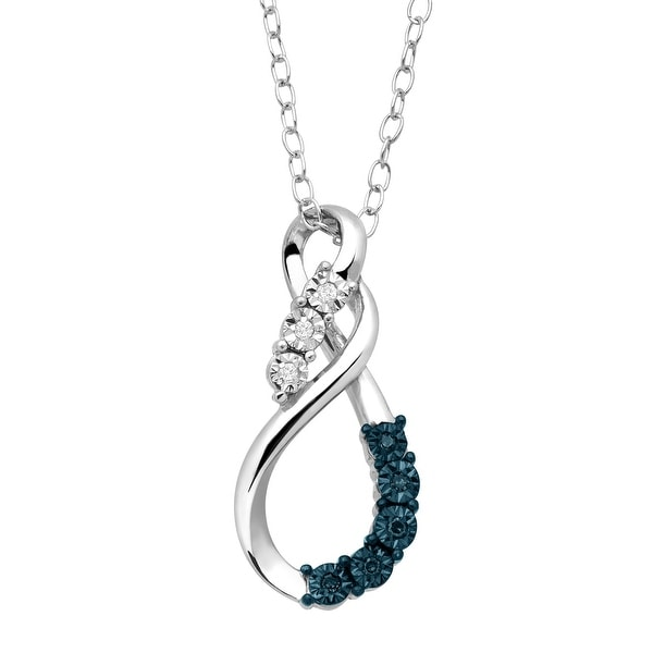 Double Swirl Pendant with Blue & White Diamonds in Sterling Silver