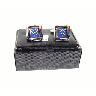 NCAA West Virginia Mountaineers  Square Cufflinks with Square Shape Logo Design Gift Box Set