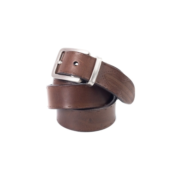 Brunello Cucinelli Brown Leather Diamond-Etched Western Belt