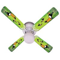 Green Toucan Print Blades 42in Ceiling Fan Light Kit - Multi