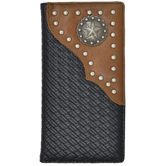 "3D Western Wallet Mens Rodeo Classics Studs Overlay Weave Black - 7 1/8"" x 3 3/4"""