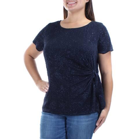 MSK Womens Navy Glitter Short Sleeve Jewel Neck Top Plus Size: OX