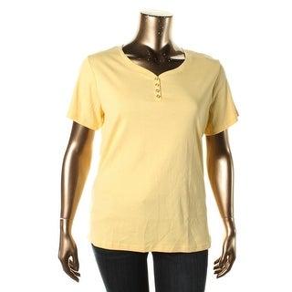 Karen Scott Womens Plus Ribbed Knit Short Sleeves Henley Top