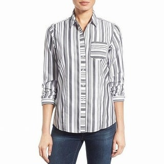 Foxcroft Black Womens Herringbone Stripe Button Down Blouse