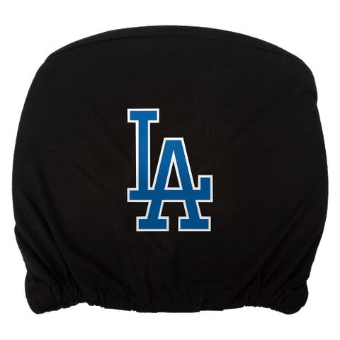 Embroidered Sports Logo 2 Pack Headrest Cover MLB, Los Angeles Dodgers - Black - One Size