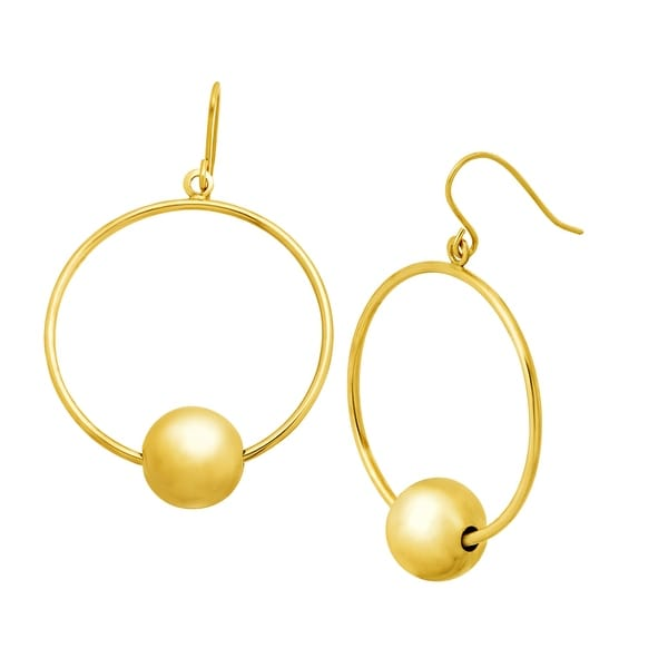 Just Gold Circle Drop Earrings with Beads in 10K Gold - YELLOW