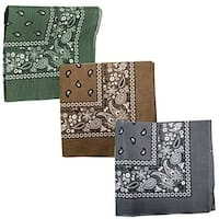 Paisley 3 piece Assorted Cotton Bandanas (Olive / Brown / Dark Gray)