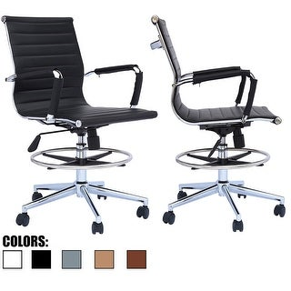 Set of 2 Designer Ergonomic Mid Back With Back Ribbed Drafting Office Chair With Chrome Armrest Black High Stool