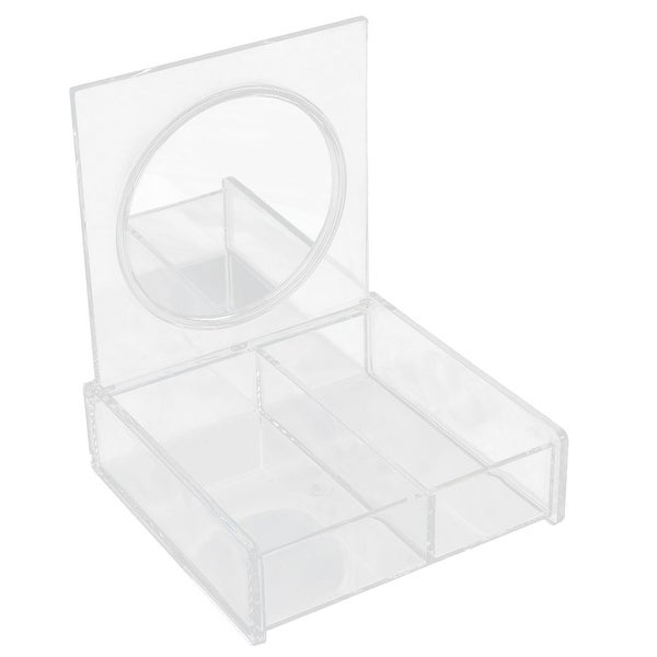 Bedroom Dresser Acrylic 2 Compartments Cosmetic Organizer Makeup Case Box Clear