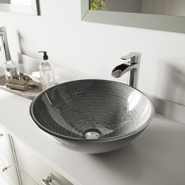 VIGO Simply Silver Glass Vessel Bathroom Sink Set with Niko Faucet. Opens flyout.