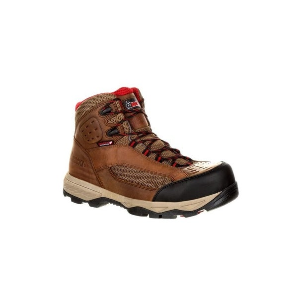 "Rocky Work Boots Mens Endeavor Point Leather 5"" Brown"