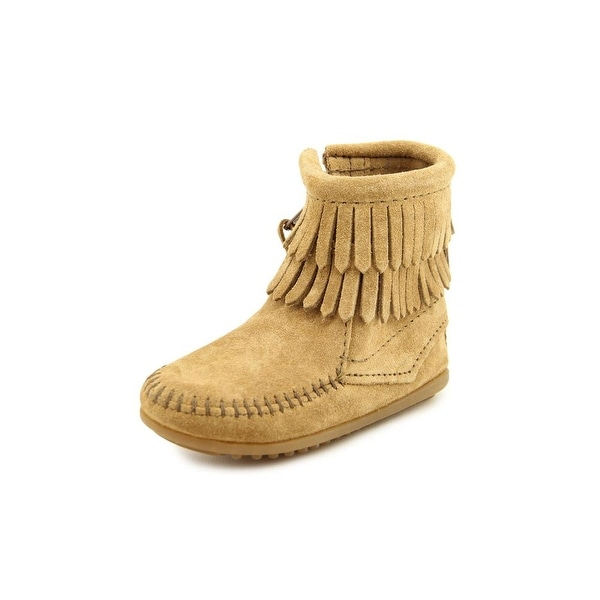 Minnetonka Double Fringe Bootie   Round Toe Suede  Winter Boot
