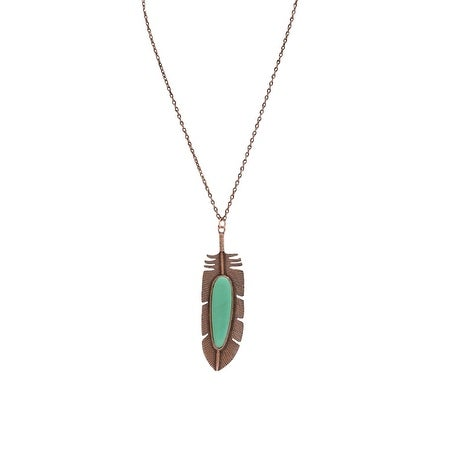 "LoulaBelle Jewelry Womens Necklace Feather 32"" Copper Turq LN9022CTQ - copper turquoise"