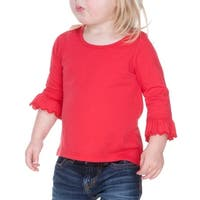 Kavio! Infants Girls Sheer Jersey Ruffled 3/4 Sleeve High Low Top