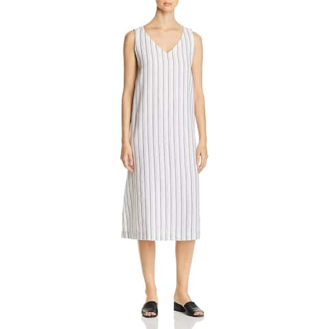 Eileen Fisher Womens Maxi Dress V Neck Side Slit - Pearl