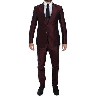 Dolce & Gabbana Dolce & Gabbana Bordeaux Silk Wool 4 Piece Slim Fit Suit