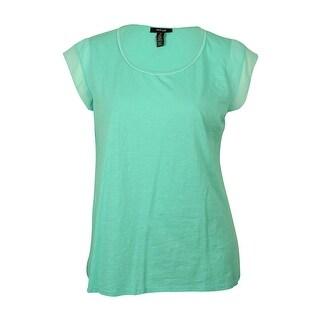 Style & Co Women's Chiffon-Sleeve Cotton Shirt