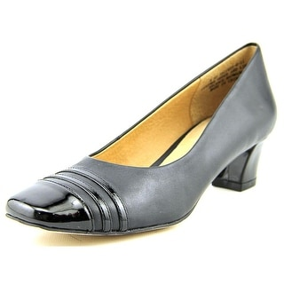Auditions Classy Women  Square Toe Leather Black Heels