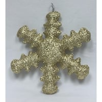 "20"" Sparkly Gold Inflatable Snowflake Christmas Ornament"