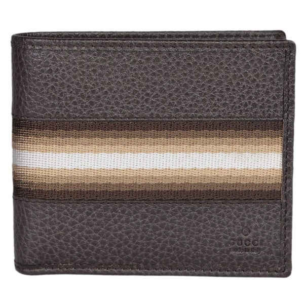 Gucci 231845 Men's Brown Calf Leather Tan Cream Web Stripe Bifold Wallet