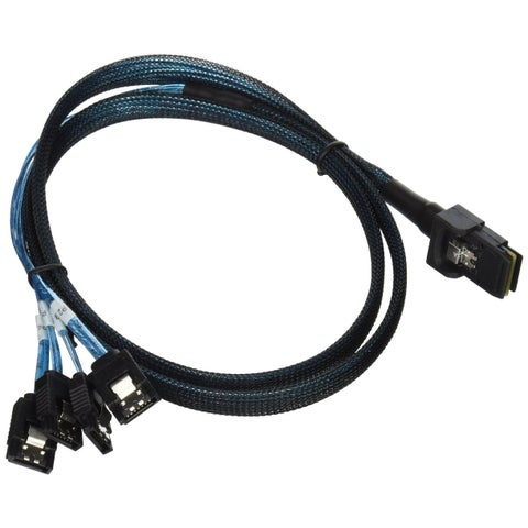 Battleborn 1m 30AWG Internal Mini SAS 36-Pin Male with Latch to 7-Pin Female Forward Breakout Cable, Black