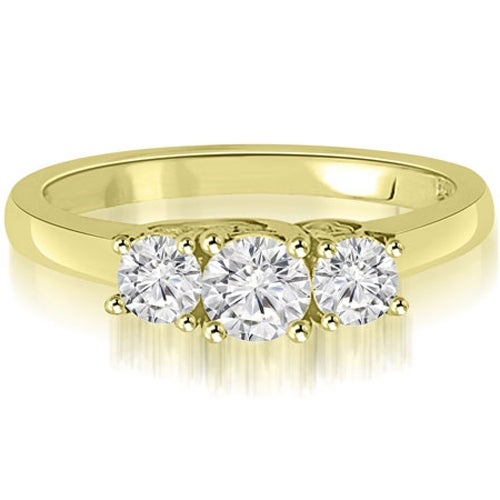 1.00 cttw. 14K Yellow Gold Trellis Three-Stone Round Cut Diamond Engagement Ring