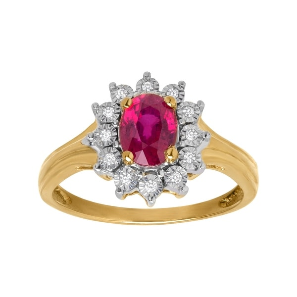 1 1/8 ct Ruby Ring with Diamonds in 10K Gold