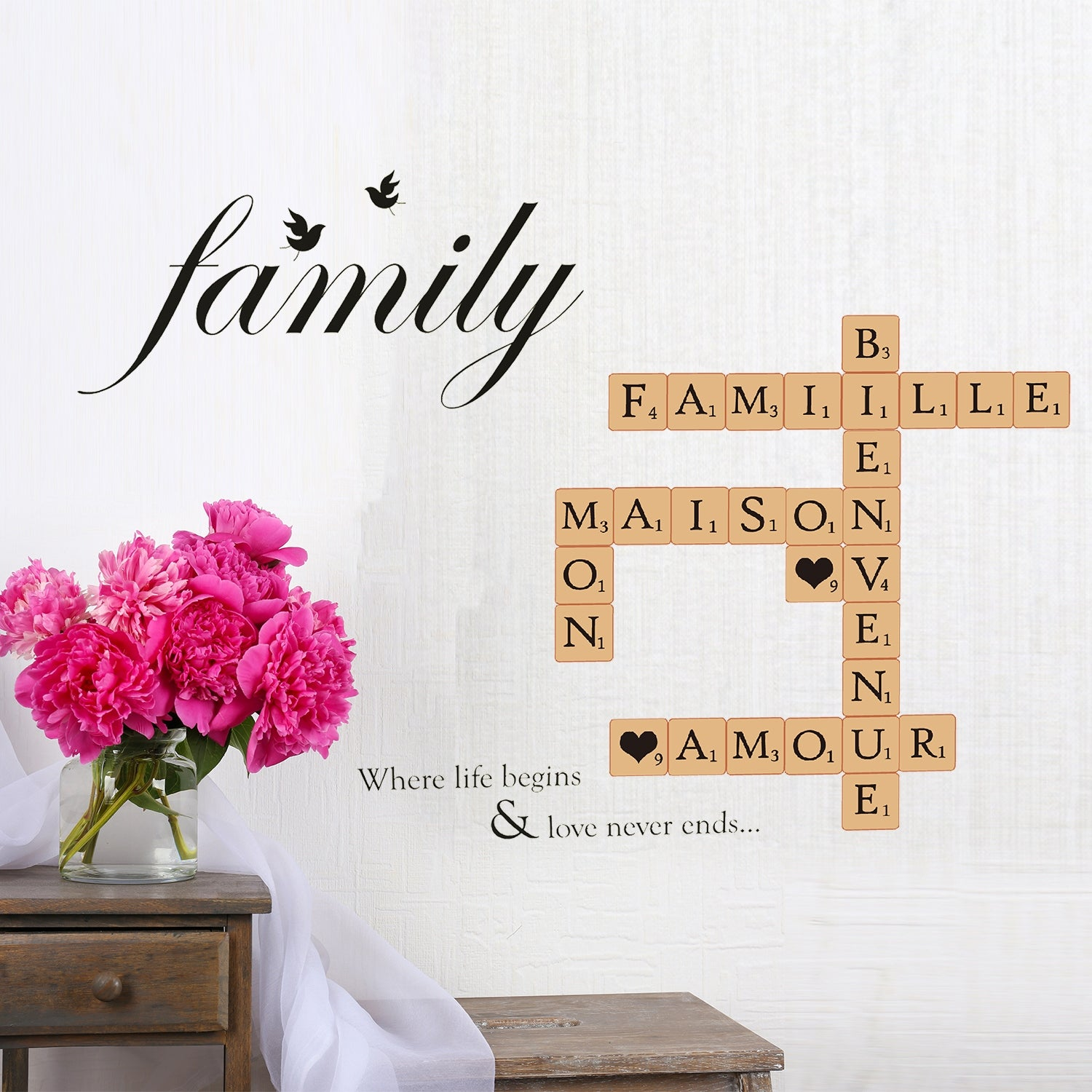 Walplus Letters Word Puzzle Family Birds Quote Wall Sticker Home Decor Overstock 32007169