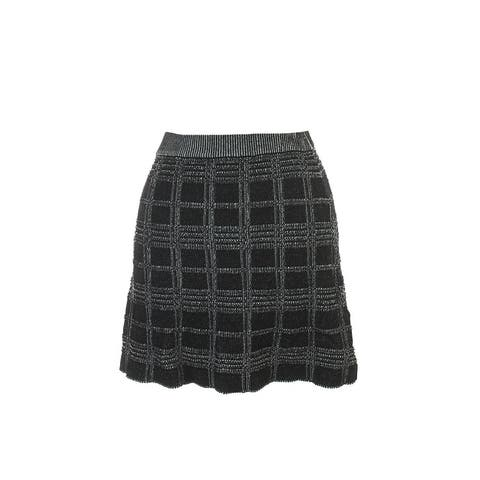 Rachel Rachel Roy Black White Plaid Fit & Flare Skirt XS