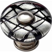 Atlas Homewares 3208 Glass 1-1/2 Inch Diameter Mushroom Cabinet Knob - Polished chrome