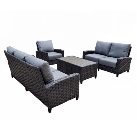 Belize 4-Piece Patio Seating Rattan Wicker Outdoor Conversation Set With Olefin Cushions And Coffee Table - Grey