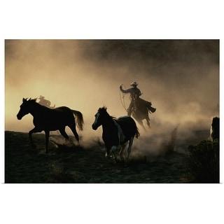 """Wranglers rounding up horses"" Poster Print"