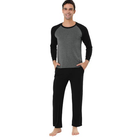 Men's Sleepwear Set Raglan Sleeve Bottoms Lounge Pajama Suit