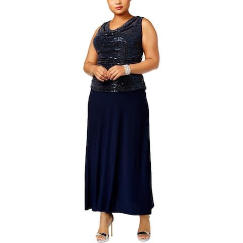 R&M Richards Womens Plus Formal Dress Metallic Sequined