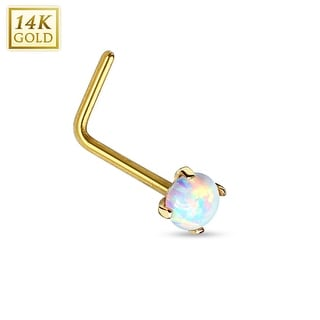 "14Kt Gold Prong Opal L Bend Nose Ring - 20GA - 1/4"" Length (Sold Ind.)"