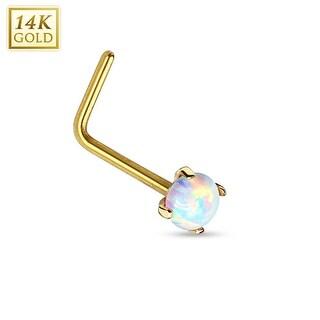 """14Kt Gold Prong Opal L Bend Nose Ring - 20GA - 1/4"""" Length (Sold Ind.)"""